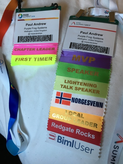 The PASS Summit 2016 vs 2017 Badges