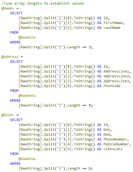 Using U-SQL Split to Handle Variable Width Datasets